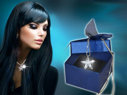 Silberkette mit Kristallstern