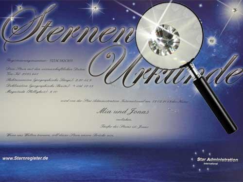Urkunde mit echten Sternkristallen