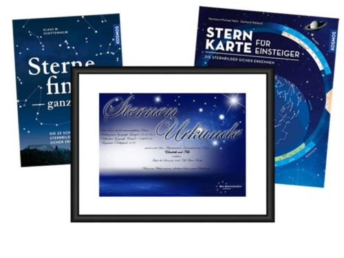 Urkunde mit Kosmos Buch und Sternkarte