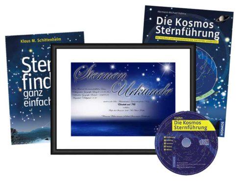 Sterntaufe Urkunde mit Sternführung und Buch Sterne finden
